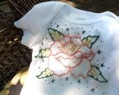 Hand Embroidered Baby Tattoo Onesie Bodysuit Keepsake - Rockabilly Rose Flower w Green Leaves