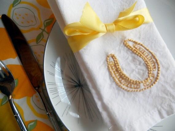 White Cloth Napkin - Sailor Jerry Rockabilly Tattoo - Lucky Horseshoe and Clovers