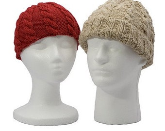 SET of 3 Easy Cable Hat Patterns (baby to adult) - Knitting Pattern PDFs