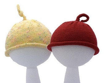 Easy Baby Hats - 3 sizes - Knitting Pattern PDF