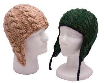 Cable Ear Flap Hat SET of 3 patterns (baby to adult) - knitting PDFs