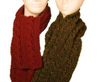 Easy Reversible Cable Scarf - Worsted or Chunky - Knitting Pattern PDF
