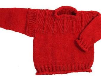 Easy Child's Chestnut Hill Gansey Pullover Sweater - No Seams - Knitting Pattern PDF