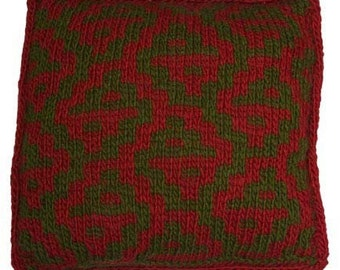 Easy Mosaic Knitting Pillow - Knitting Pattern PDF