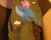 Pig Riding a Whale Felted Scarf (Free Priority Shipping)