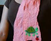 Turtle and Apple Felted Scarf (Free USPS Priority Shipping)