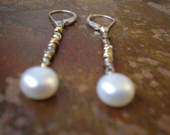 White Round Freshwater Pearl Earrings-Rustic Earrings-Alternative Bridal Wedding Earrings,Boho Chic Weekend Jewelry-Genuine Pearls-Gift Wife