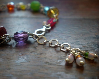 Happy Color Bracelet   Colorful Glass Beads   Funky Bracelet   Gift For Her   Birthday Best Friend   Gift Wife   Layering   Chunky   Special