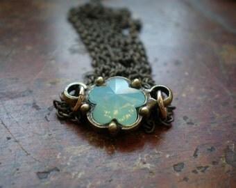 Swarovski Flower In A Frame Necklace - Delicate Necklace - Flower Charm - Trendy - Brass Bezel - Flower Petal Charm - Everyday Necklace