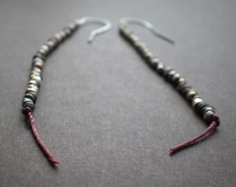 Boho Earrings / String Earrings / Mixed Metal Beads /Dorijenn Jewelry/Hanging Thread Earrings - Rustic Earrings - Simple Earrings - Gift Her