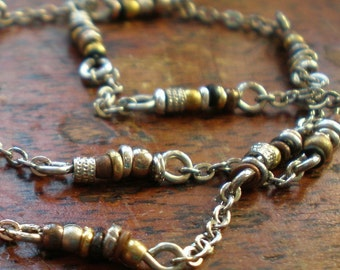 Unique Link Chain - Any length from 26 Inches to 40 inches - Mixed Metal Beads - Boho Necklace - Rustic Jewelry