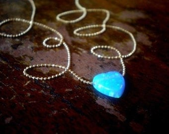 Heart Glow Necklace/Blue Heart Delicate Necklace/Synthetic Opal Heart Charm On Gold Filled Chain/Gift Bride/Bridesmaid/Anniversary Gift Wife