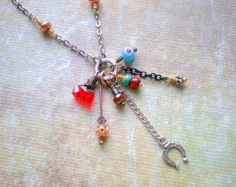 Lucky Charm Necklace, Evil Eye, Horse Shoe, Red Crystals, Good Luck Charm Symbols