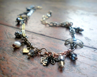 Mixed Metal Charm Bracelet|Handmade Charms & Danglies|Eclectic Elements|Unique Gift Idea|Birthday Girlfriend|Christmas Wife|Made In Israel