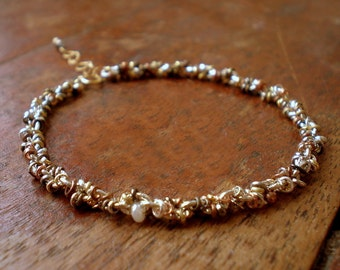 Rustic Boho Bracelet | Mixed Metal Bead Bracelet|Snake Bracelet|Dorijenn Signature Jewelry|Textured Metal|Gift Wife Girlfriend|Ring O' Links