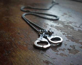 Handcuff Necklace|Fun Necklace|Gothic Jewelry|Kinky Jewelry|Naughty Jewelry|Gift Best Friend|Bestie|Girlfriend|Cute Chic Rebel Teen Chain