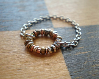 Alternative Ring | Floating | Mixed Metal Beads | Rustic Signature Design | Lightweight Chain Ring | Teen Girl | Christmas Stocking Stuffer