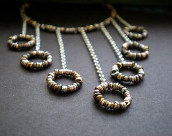 Symmetrical Bib Statement Necklace - Beach Wedding - Geometric Jewelry - Alternative Bridal Neck Piece - Rustic Necklace - Textured Circles