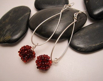 Look at Me Sterling Silver Earrings Maroon Bead Accents