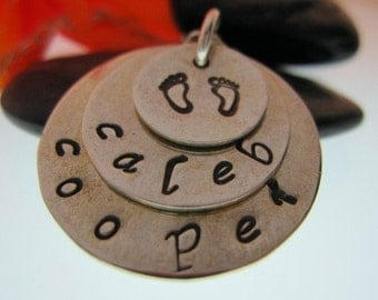 Personalized 3 Tiered Stamped Sterling Silver Pendant