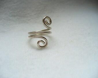Swirly girly sterling silver ring