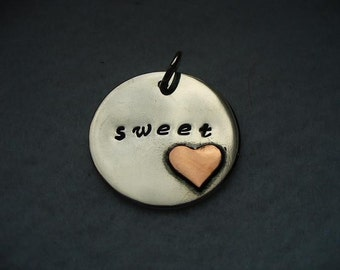 You are my Sweetheart .. Sterling silver copper heart pendant