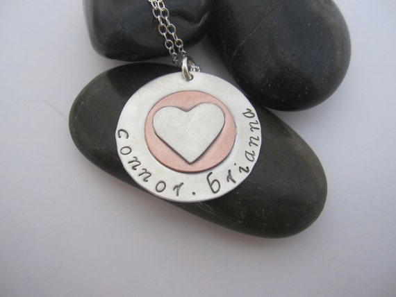 Personalized Sterling Silver with Copper Heart Accent