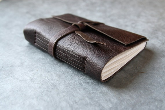 Leather Journal or Sketchbook - Dark Brown (with a hint of purple)