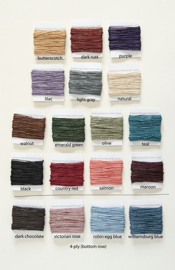 Waxed Irish Linen Thread - 90 yards, 5 yards each of 18 different colors