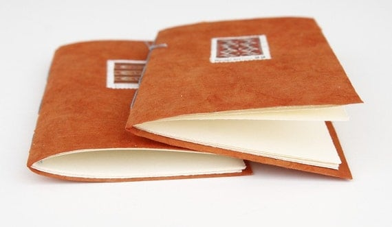 2 Small notebooks -Orange with Native American Art Stamps