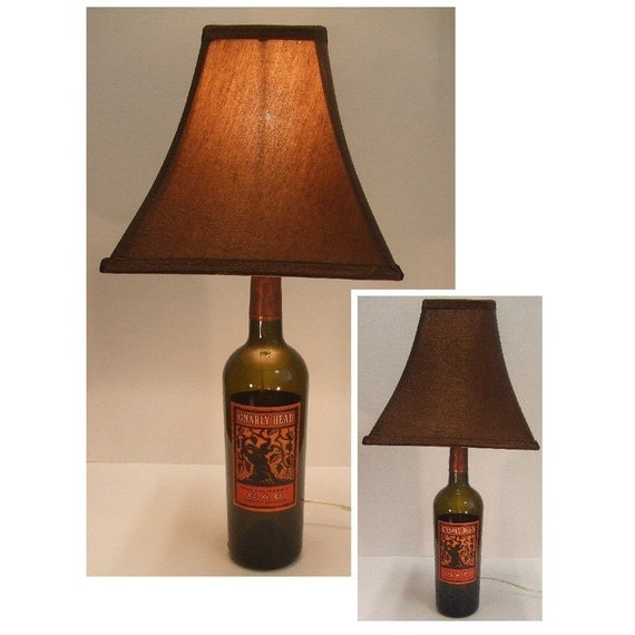 table wine bottle lamp gnarly head by vogueillumination on. Black Bedroom Furniture Sets. Home Design Ideas