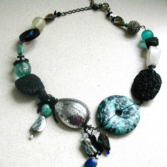 Turquoise,  Recycled Tea Strainer Necklace with Lava Rock    One of a Kind
