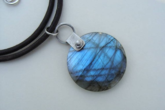 Labradorite Silver Bailed and Leather Necklace