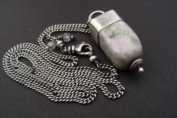 Pear Jasper Nugget Silver Necklace