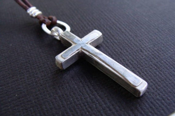 Silver and Leather Artisan Soldered Cross