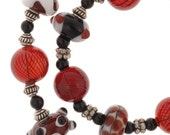 RESERVED FOR IDOLIE Red Lampwork Necklace and Earring Set  regular price - 135.00