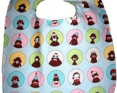 Blue Sock Monkey Soak Proof Boutique Bib