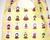 Reversible Yellow Sock Monkey Baby/Toddler Boutique Bib