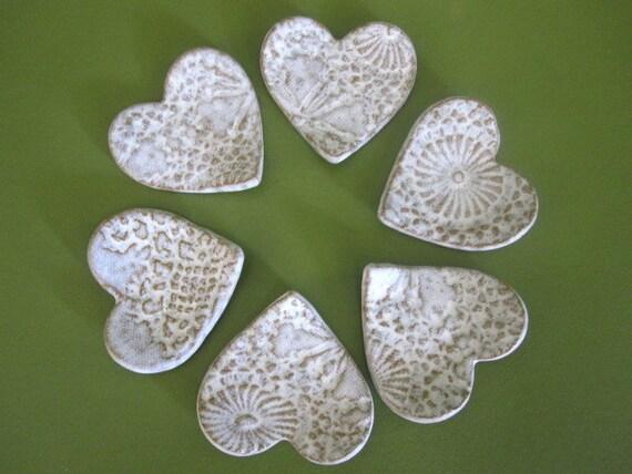 FIVE white speckled trinket / tea bag/ coffee spoon rest/ favor hearts