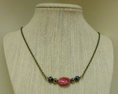 Pinkberry Polka Dot Antiqued Gold Chain Necklace