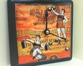 Weightlifting Sideshow Strong Women Ephemera Collage Hand-Decoupaged Wood Clock by cadencedesigns on etsy