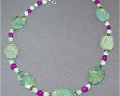 Ruby Fuchsia, Fuchsia Jade, and Turquoise adjustable Sterling Silver Necklace