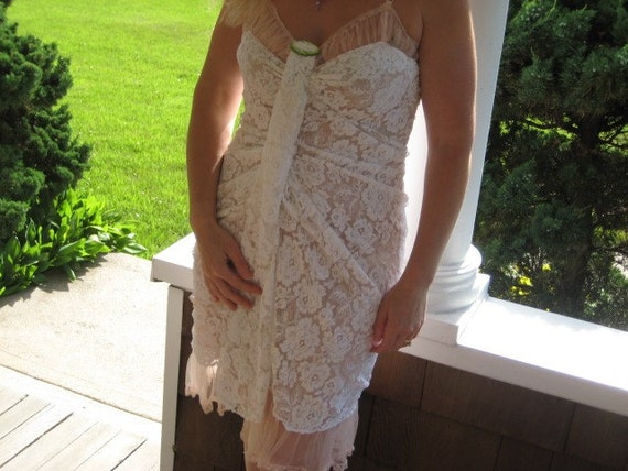 Vintage Sheer Pink Dress With Lace Overlay