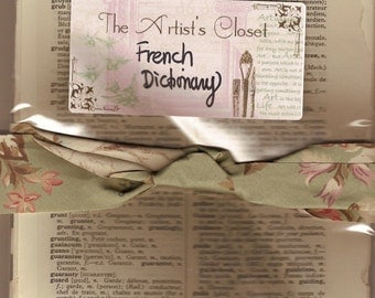 Vintage French English Dictionary 35 pages Mixed Media Altered Art Collage