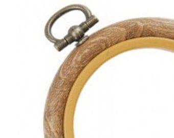 Faux Bois Wood Grain Flex Hoop for Embroidery Large 8 inch
