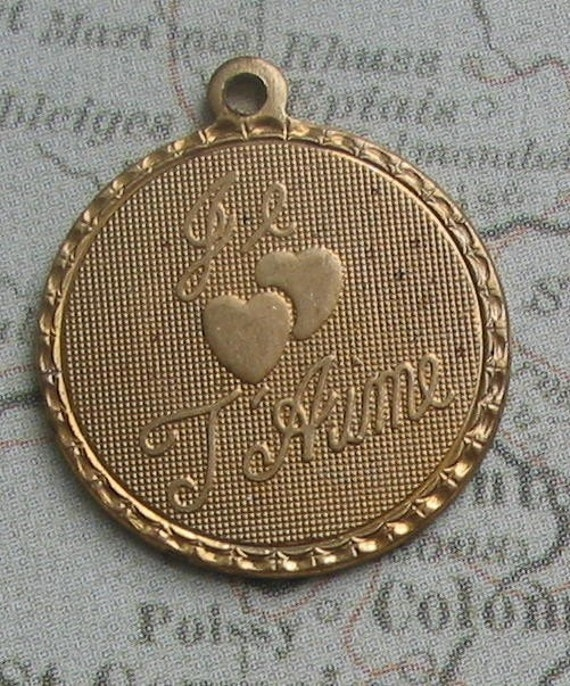 French Je t'aime Small Charms Set of 4 Brass