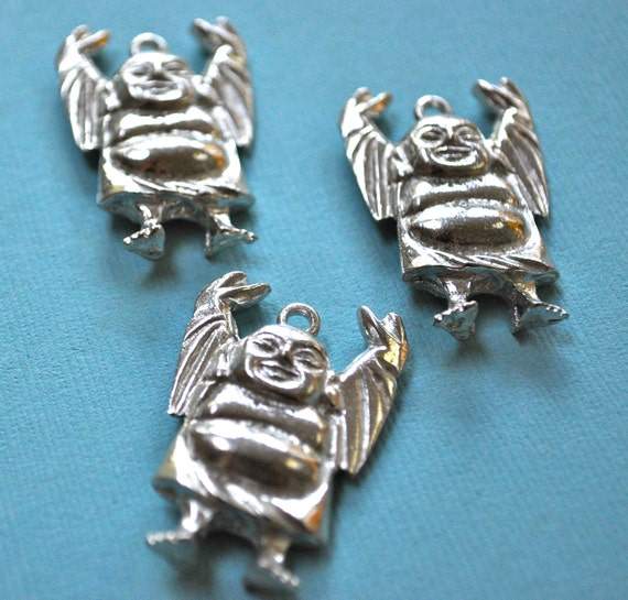 Pewter Happy Buddha Pendant Made in USA Set of 3