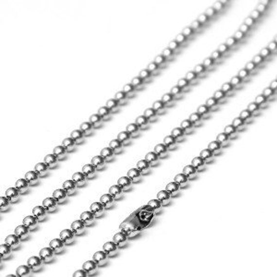 Nickel Silver Ball Chain 24 inches Finished Necklace Set of three