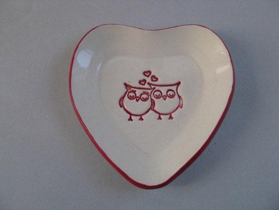 Owls in Love - Heart Shaped Soap Dish / Trinket Tray