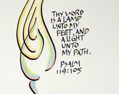 Psalm 119vs105  HAND COLORED  Illustrated Calligraphy Print